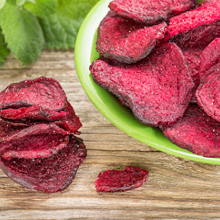 Baked Beet Chips With Rosemary.