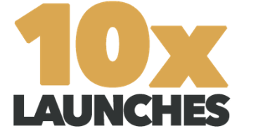 Black & gold coloured 10x Launches logo