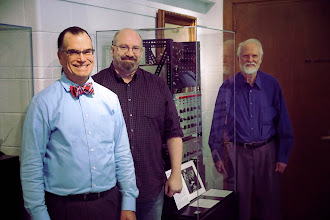 Photo: Scott Schwartz, Mark Smart, and Jim Beauchamp with the original Harmonic Tone Generator at the Sousa Archives - University of Illinois at Urbana Champaign.