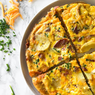 Bacon, Egg and Cheese Frittata with Spiralized Potatoes.