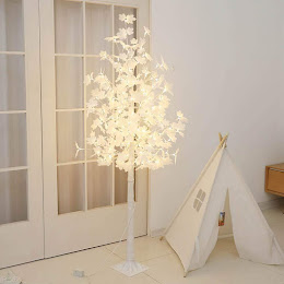 Copac decorativ sarbatori, Alb, iluminat 180 LED, 180 cm, lumina calda