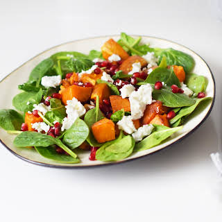 Sweet Potato Salad with Spinach, Pomegranate and Feta.