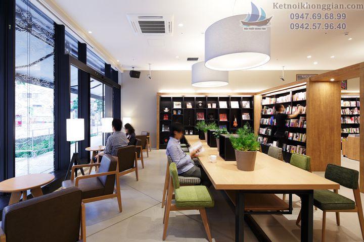 thiết kế nhà sách diện tích lớn, thiết kế quán cafe sách