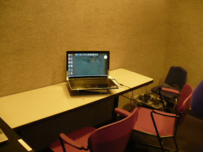 Photo: Therapy room where the first telepractice speech evaluation session was conducted utilizing a laptop computer.