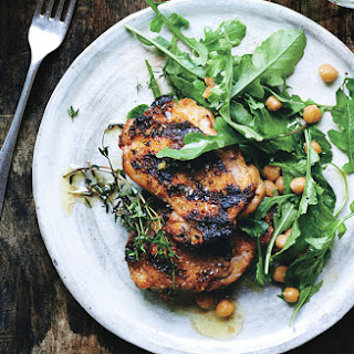 Grilled Chicken with Arugula and Warm Chickpeas