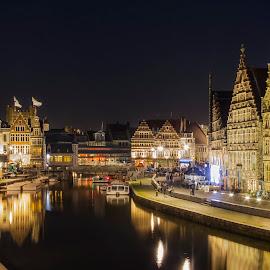 Gent by Catchlights Fotografie - City,  Street & Park  Street Scenes ( water, gent, night, belgium,  )
