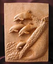 Photo: Delfines. Tamaño: 29 x 40 cm. Talla en madera. Woodcarving.    Para leer algo más en relación con esta obra ir al blog: http://tallaenmadera-woodcarving-esculturas.blogspot.com/2009/08/delfines.html
