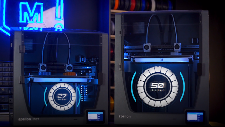 The two Epsilon Workbench Series 3D printers are nearly identical, differing only in their build height.