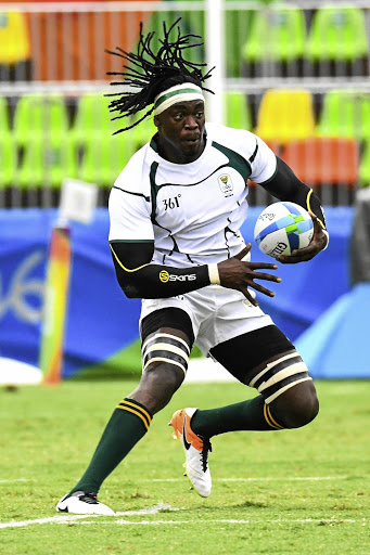 Eager to get going: Tim Agaba, seen here playing for the Blitzboks at the Rio Olympics, is one of a number of players forced to readapt after playing 15s rugby since the sevens series ended in May. Picture: GALLO IMAGES