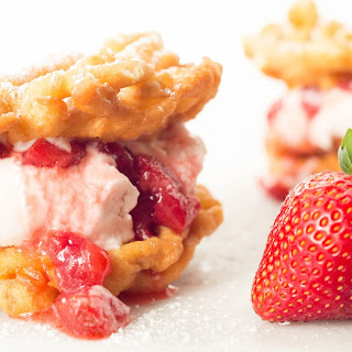 Roasted Strawberry Funnel Cake Ice Cream Sandwich.
