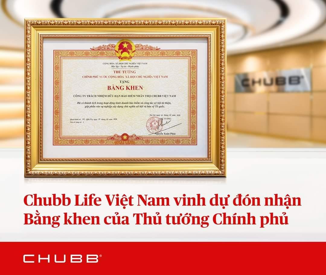 Công ty bảo hiểm nhân thọ Chubb Life vinh dự nhận bằng khen từ Thủ tướng