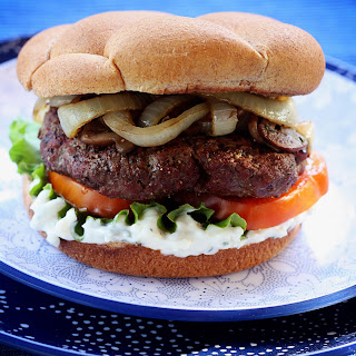 Burgers with Blue Cheese Mayo and Sherry Vidalia Onions