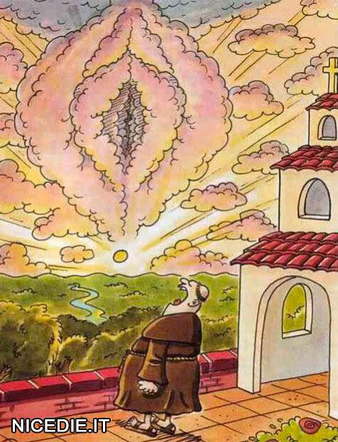 un frate vede nelle nuvole un organo sessuale femminile
