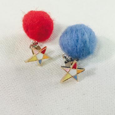 七彩五角星配雙色手造小毛球耳環