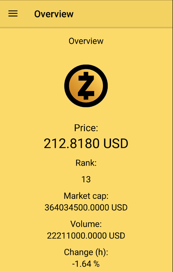 ZEC Ticker- screenshot