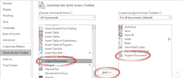 Inspect Document on Quick Access Toolbar