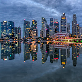 Sublimal Morning by Gordon Koh - City,  Street & Park  Vistas ( shenton way, skyline, reflection, riverfront, cityscape, singapore, city, cbd, dawn, landmarks, financial district, skyscraper, buildings, asia, cloudy, icons, symmetry, jubilee bridge, waterfront )