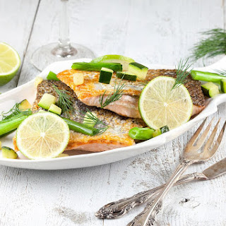 Skin Baked Salmon With Scallions And Lime.