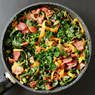 Easy Paleo Bacon Kale Skillet Meal.
