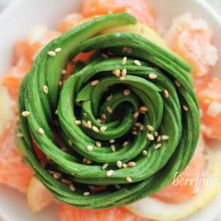 Salmon Ceviche With Avocado Rose.