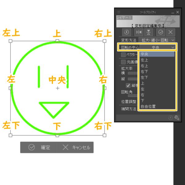 クリスタ:ツールプロパティ(回転の中心)