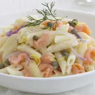 Penne Pasta with Smoked Salmon and Capers.