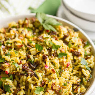 Curried Wild Rice Salad With Raisins And Pecans.