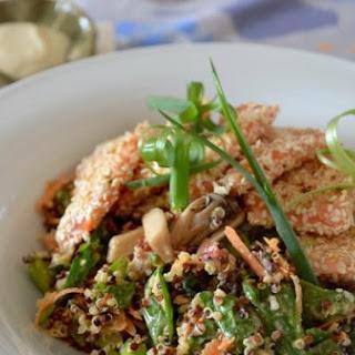 Healthy Quinoa Salad with Sesame-Crusted Salmon & Tahini Dressing
