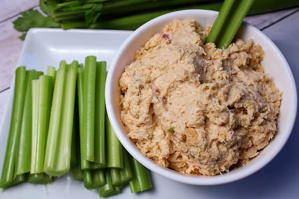 Almost Buffalo Dip Served With Celery.