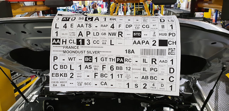 The code sheet ensures the vehicle gets its allocated list of components. Picture: DENIS DROPPA