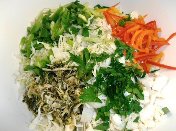 in a large mixing bowl combine all the coleslaw ingredients, mix well