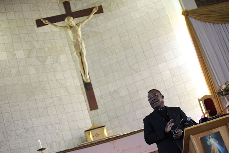 Moral radar: Rev Frank Chikane takes to the stage at the Regina Mundi Church in Soweto, where the South African Council of Churches released a report by its unburdening panel, which was set up in April 2016 to provide a platform for gathering information on state capture. Picture: THE TIMES