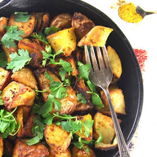 Golden Roasted Curry Mustard Potatoes.