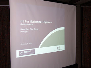 Photo: Our main program for the evening was Building Science for Mechanical Engineers (and that's no BS)