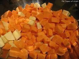 Wash and core apples then cut into sm cubes, Cook yams in microwave oven...