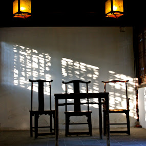 A Room With Shadows by Denise Zimmerman - Landscapes Travel ( tables, lights, wood furniture, chairs, carved wood, table scene, rooms )