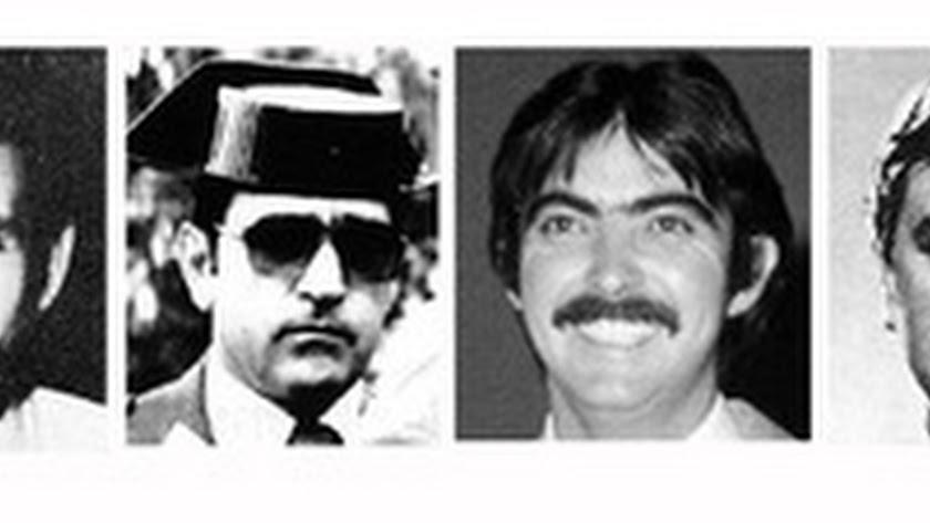 Las tres víctimas del Caso Almería y el teniente coronel de la Guardia Civil Castillo Quero.