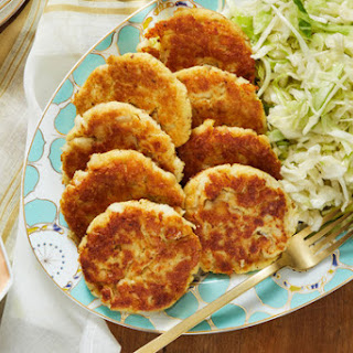Pan-Fried Cod & Potato Cakes with Marinated Cabbage Slaw Recipe