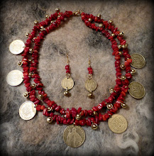 Photo: # 209 KYIVAN RUS' ~ КИЇВСЬКА РУСЬ  - red coral, hryvnias (coins of Ukraine), gold plate   $115/set  SOLD