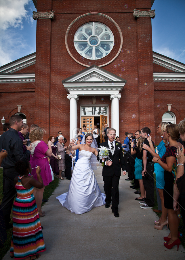 Grand Exit by Melanie Ayers Wells-Photography - Wedding Groups ( bubbles, chapel, ceremony, bride, groom, exit )