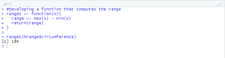 creating a function that computes the range for the given variable in the dataset.