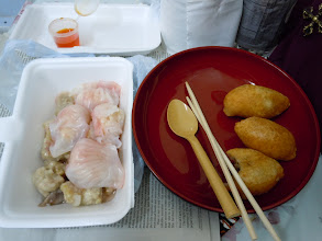 Photo: Breakfast in our room (Dragon Hostel) in Hong Kong: Steamed pork, steam shrimp dumplings, fried meat dumplings