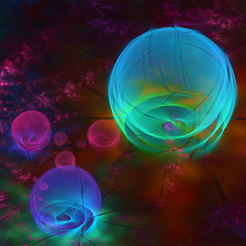 Bubble light blue by Cassy 67 - Illustration Abstract & Patterns ( digital, love, harmony, surreal, abstract art, abstract, fractals, digital art, psychedelic, classic, modern, bubble, light, fractal, bubbles, energy )