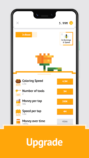 Idle Pixel Art Coloring - Tap tap to color clicker 1.0.2 Mod screenshots 3