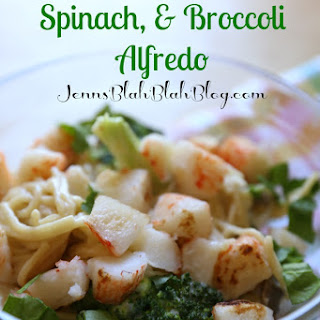 Alaska King Crab, Spinach, & Broccoli Alfredo.