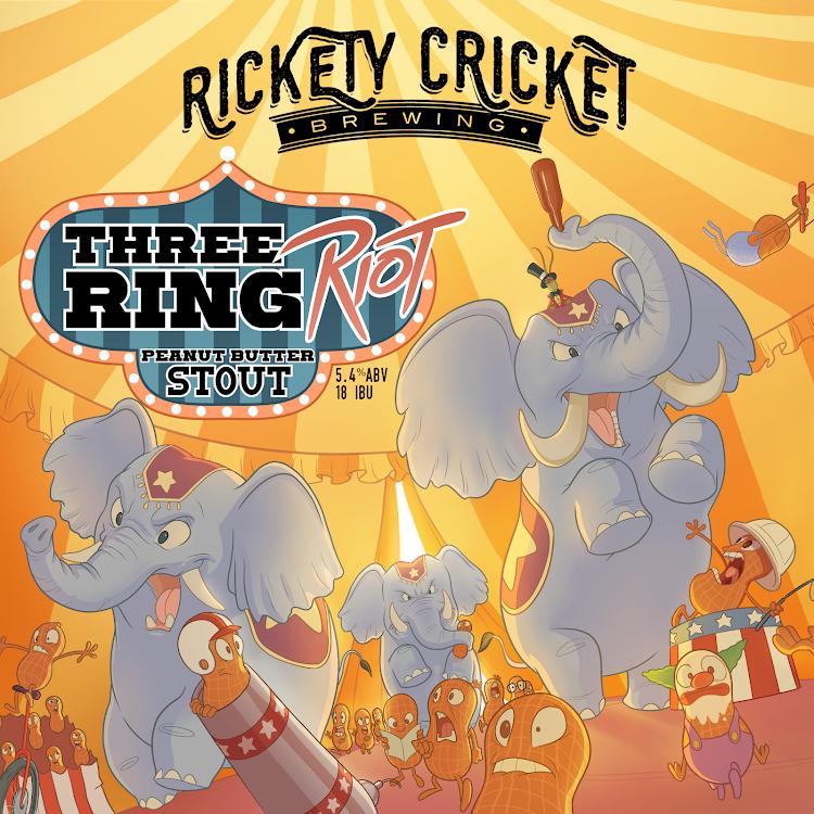 Logo of Rickety Cricket Brewing Three Ring Riot Peanut Butter