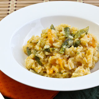 Baked Butternut Squash & Asparagus Risotto #SundaySupper.