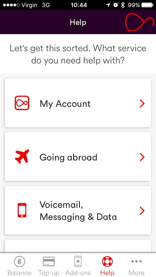 Virgin Mobile My Account- screenshot