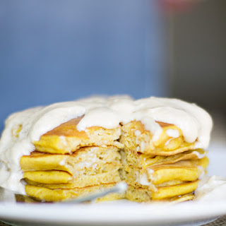 Pumpkin Spice Pancakes with Cream Cheese Maple Icing