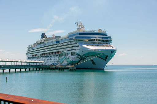 Norwegian Jade docked at Harvest Caye in Belize.